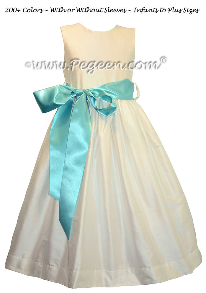 Style 300 Flower Girl Dress in New Ivory and Tiffany Blue Ribbon Silk Sash