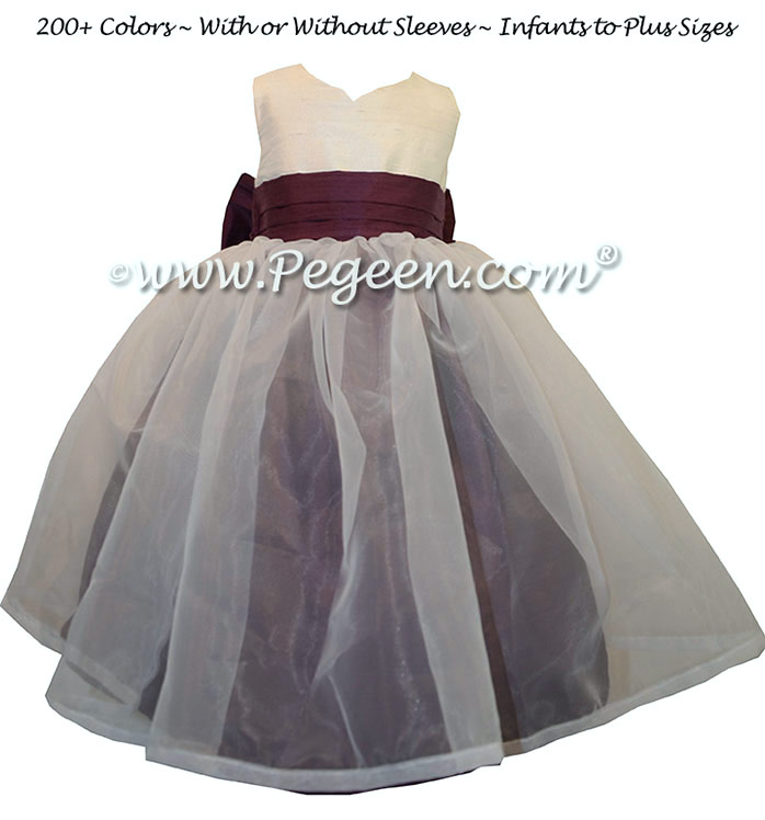 1000 Nights Custom Silk Flower Girl Dresses with An Organza Skirt