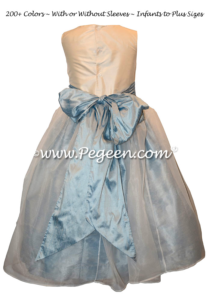 Flower Girl Dresses in Caribbean Sash and Skirt with Antique White Bodice