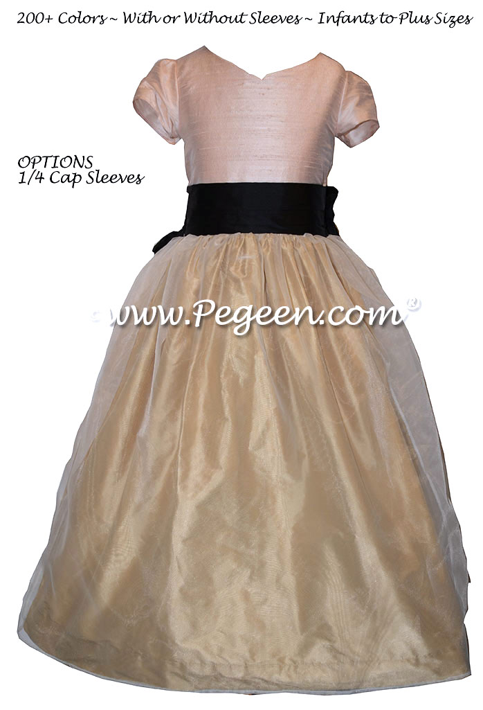 Peach, ballet pink, black silk and spun gold flower girl dresses Style 301