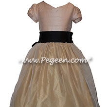 Flower Girl Dresses in Pink, Black and Gold