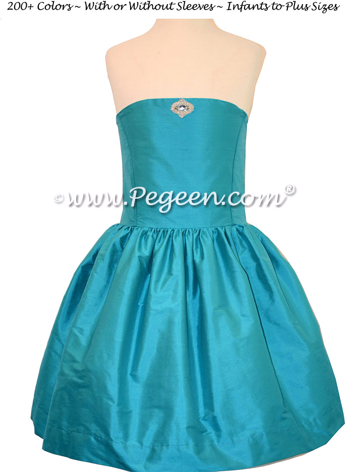 Oceanic (Turquoise) Strapless Jr Bridesmaids Dress
