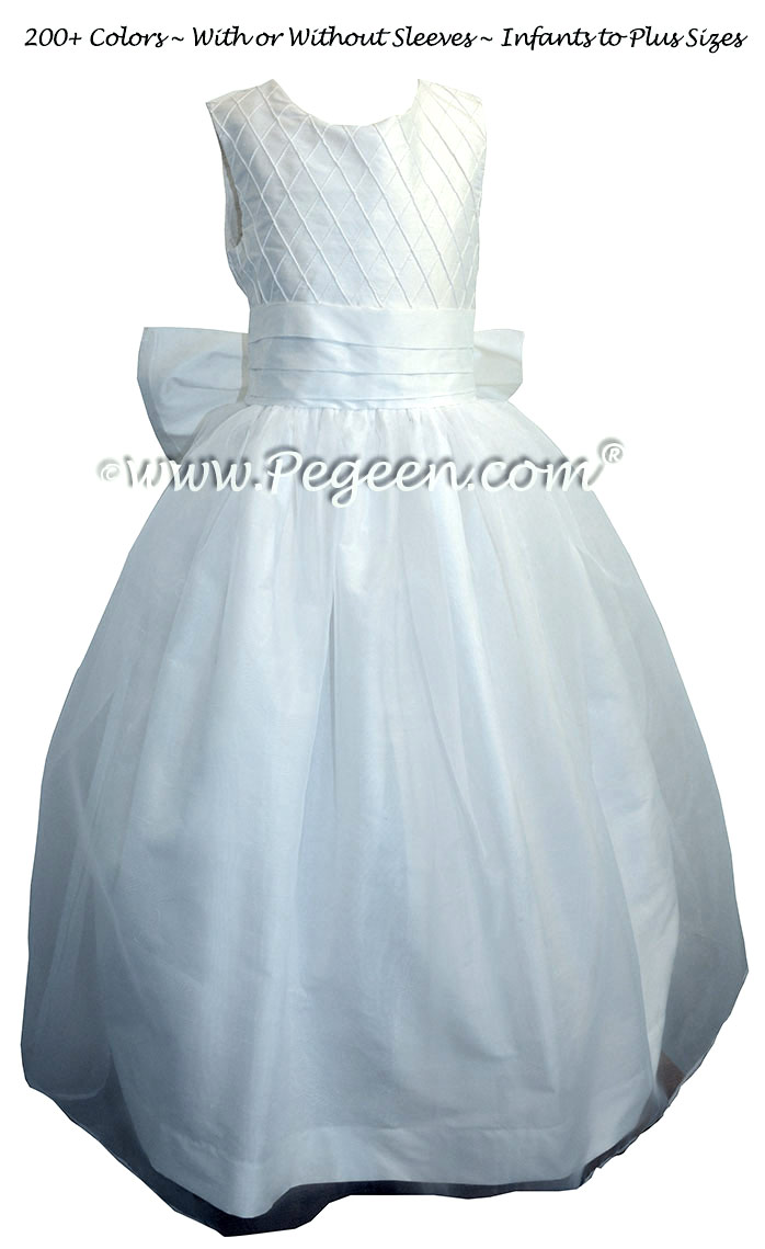 Antique White with Trellis Pintucks with Tulle flower girl dresses Style 307
