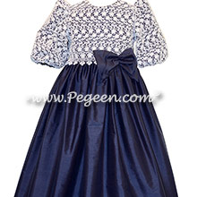 Navy silk and white embroidered lace with 3/4 sleeves and high neck