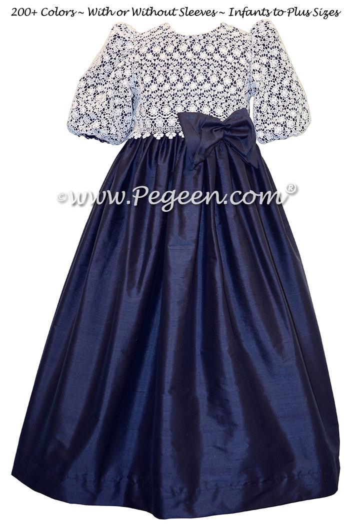 Navy Blue and Lace Custom Silk Flower Girl Dresses