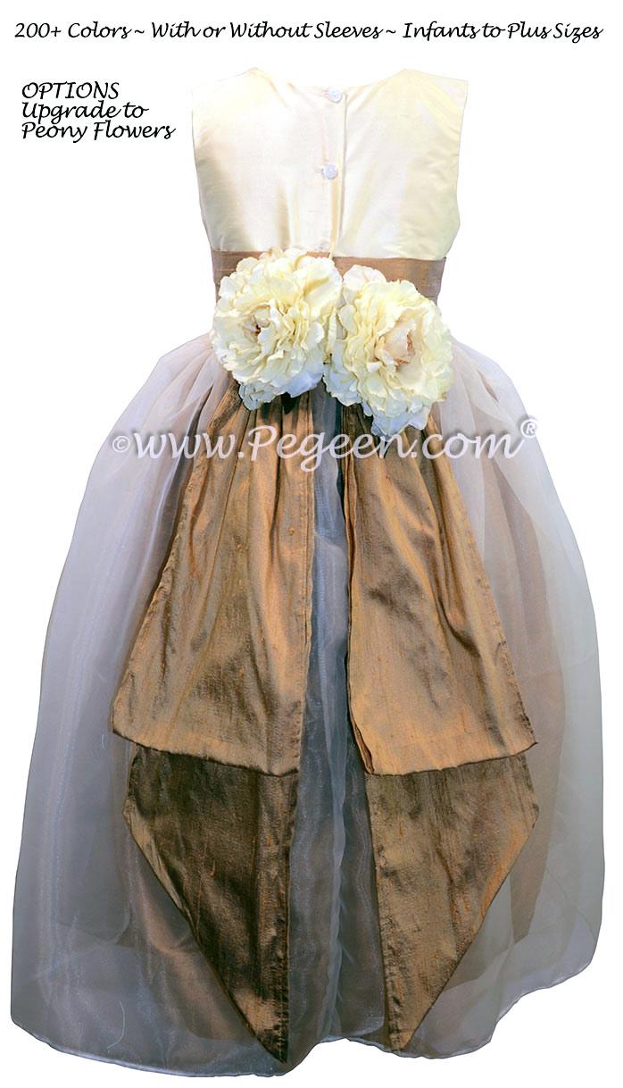 Antiqua Taupe and Bisque Custom Silk Flower Girl Dresses