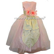 Custom Petal Pink silk with Organza CUSTOM FLOWER GIRL DRESSES by Pegeen Style 313