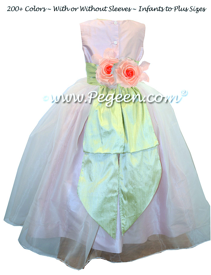 Custom Green and Petal Pink Silk Organza Flower Girl Dresses Style 313