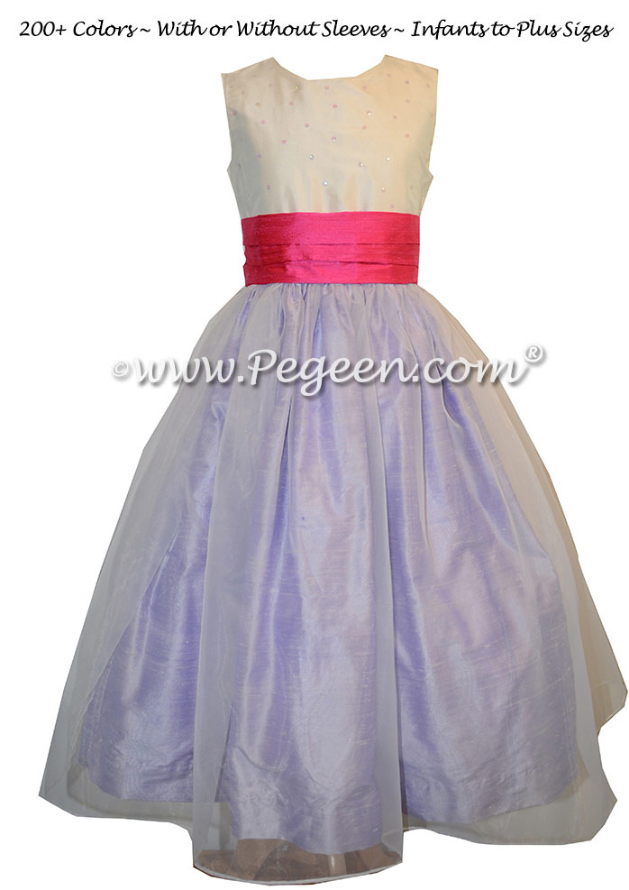 Antique White, Lilac and Shock Pink Flower Girl Dresses style 315