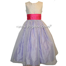 Antique White, Lilac and Shock Pink Flower Girl Dresses With back Flowers