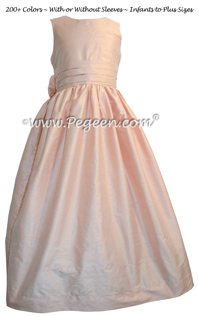 Peony Pink silk Flower Girl Dresses Style 318