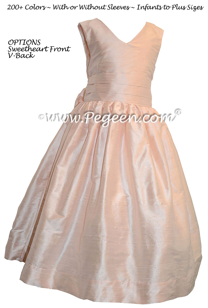 Ballet Pink silk with a v-front and back Flower Girl Dresses Style 318