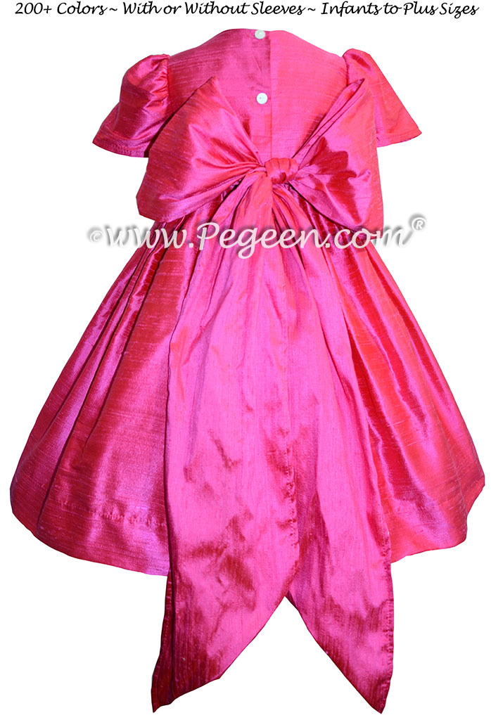 Shock pink silk flower girl dresses with puff sleeves