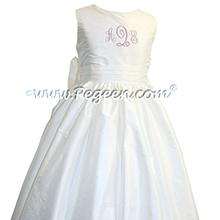 Antique White Silk Flower Girl Dresses style 318 With Monogramming by Pegeen