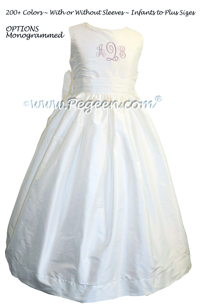 Custom monogrammed Antique White flower girl dress in silk with lilac initials