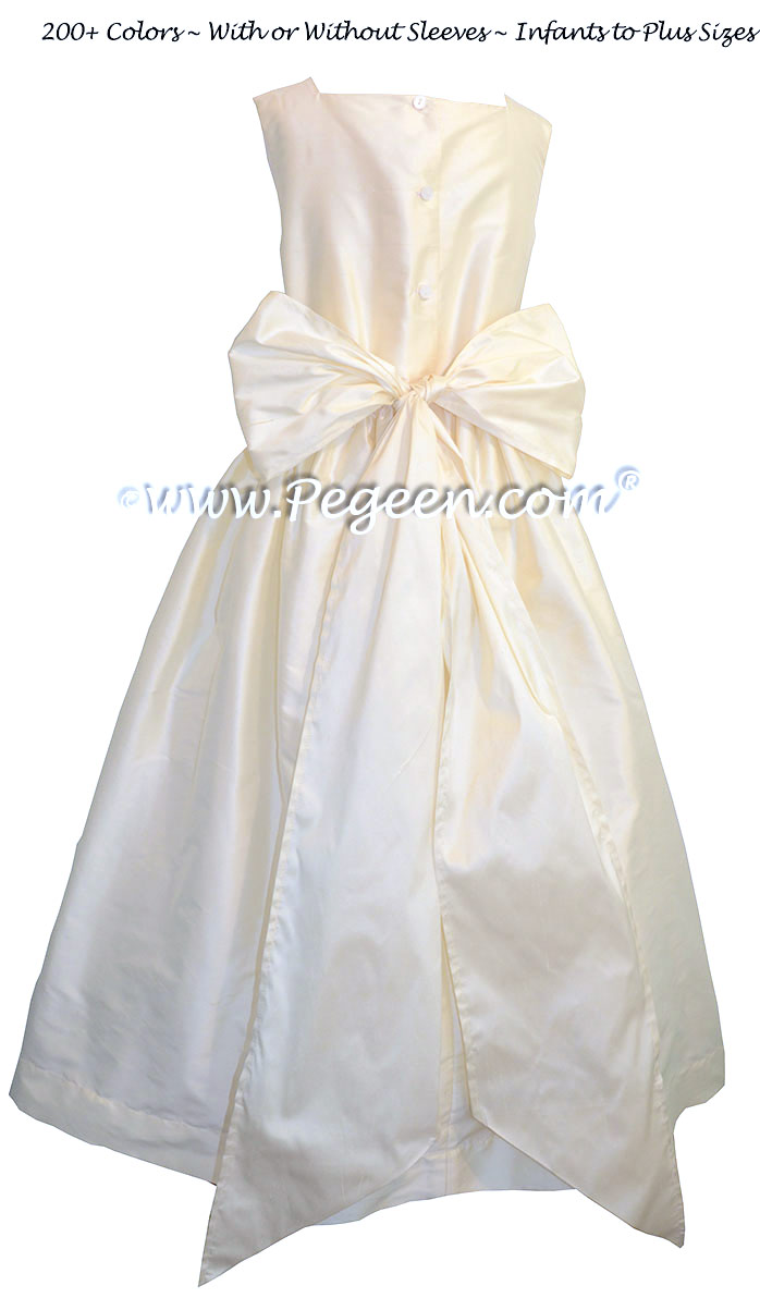 Custom silk flower girl dresses in New Ivory from the Classic Collection
