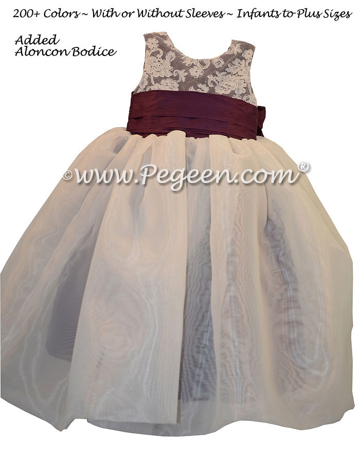 1000 nights  silk and Ivory flower girl dresses with organza skirt and aloncon lace