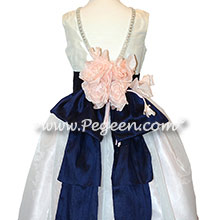 Custom Antique White Silk and Navy Flower Girl Dresswith Rhinestones