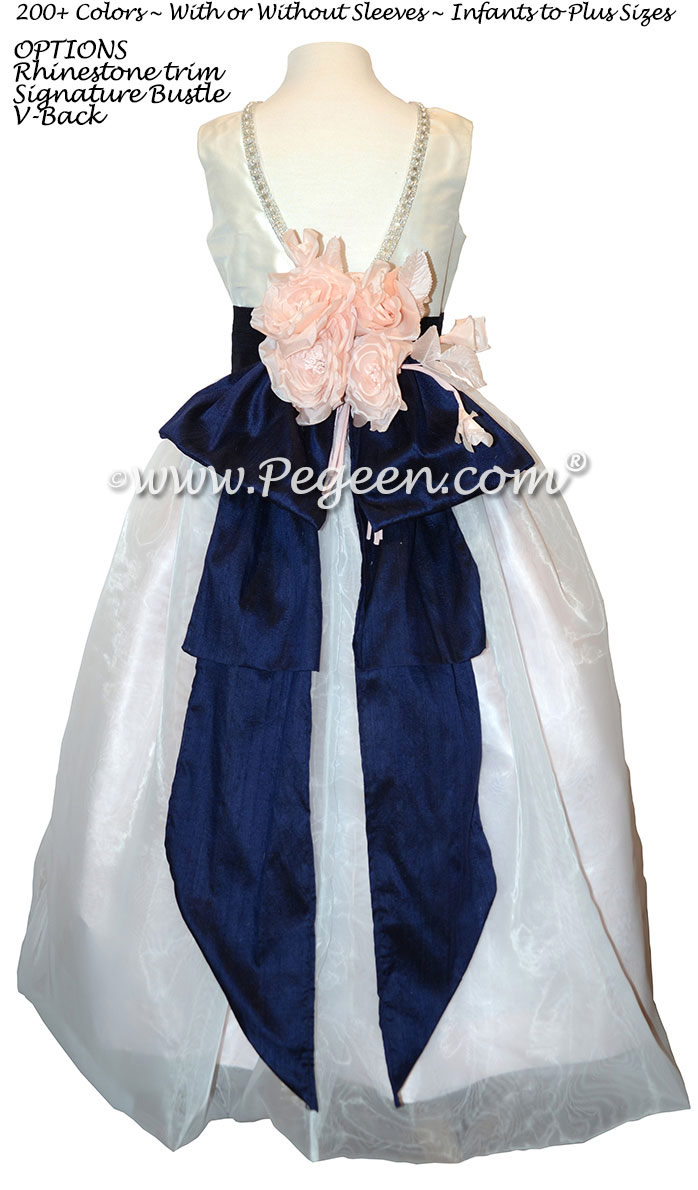 Custom Antique White Silk and Navy Flower Girl Dress with Rhinestones