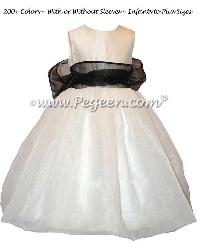 Black Organza Sash and Antique White Infant Flower Girl Dress Style 326