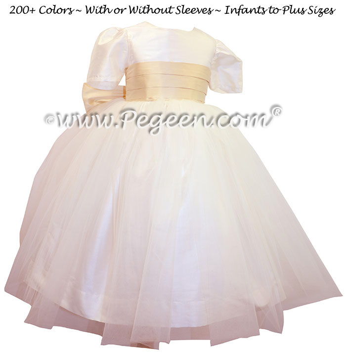Wheat and ivory Flower Girl Dresses Classic Style 326