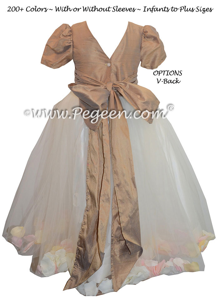 Tuscan Flower Girl Dresses with Petals, Silk and Tulle