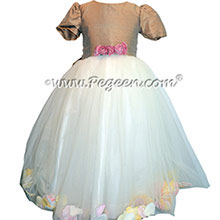 New Ivory Silk and Tuscan FLOWER GIRL DRESSES with TULLE - style 331 by pegeen