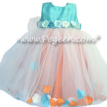 Paradise Blue and Tangerine Silk and Tulle Flower Girl Dresses