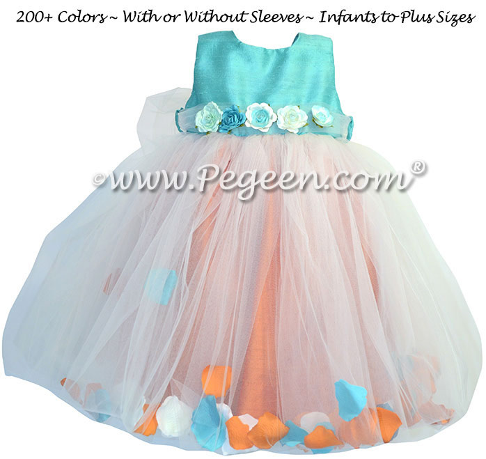 Paradise Blue and Tangerine Orange Silk and Tulle Flower Girl Dresses with Petals in the Skirt
