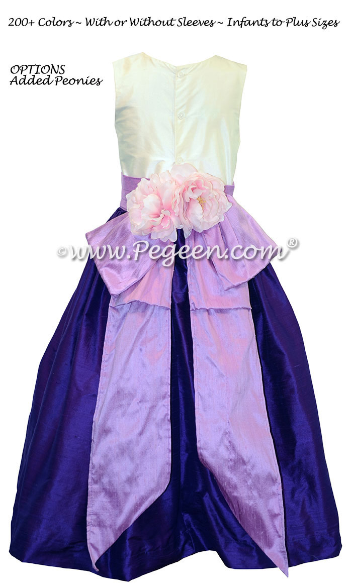 Flower Girl Dress in Royal Purple and Amethyst with Peonies | Pegeen