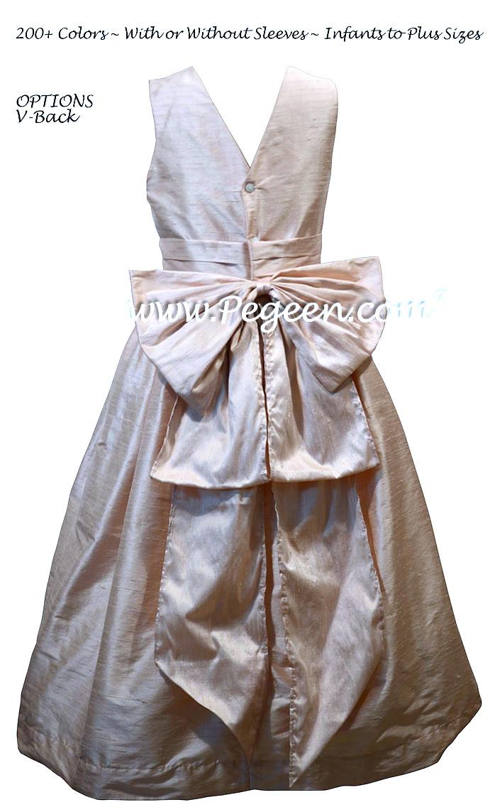 Solid Blush Pink Silk Jr Bridesmaids Dress with V-Back | Pegeen