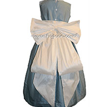New Ivory and Caribbean Blue flower girl dresses Style 345