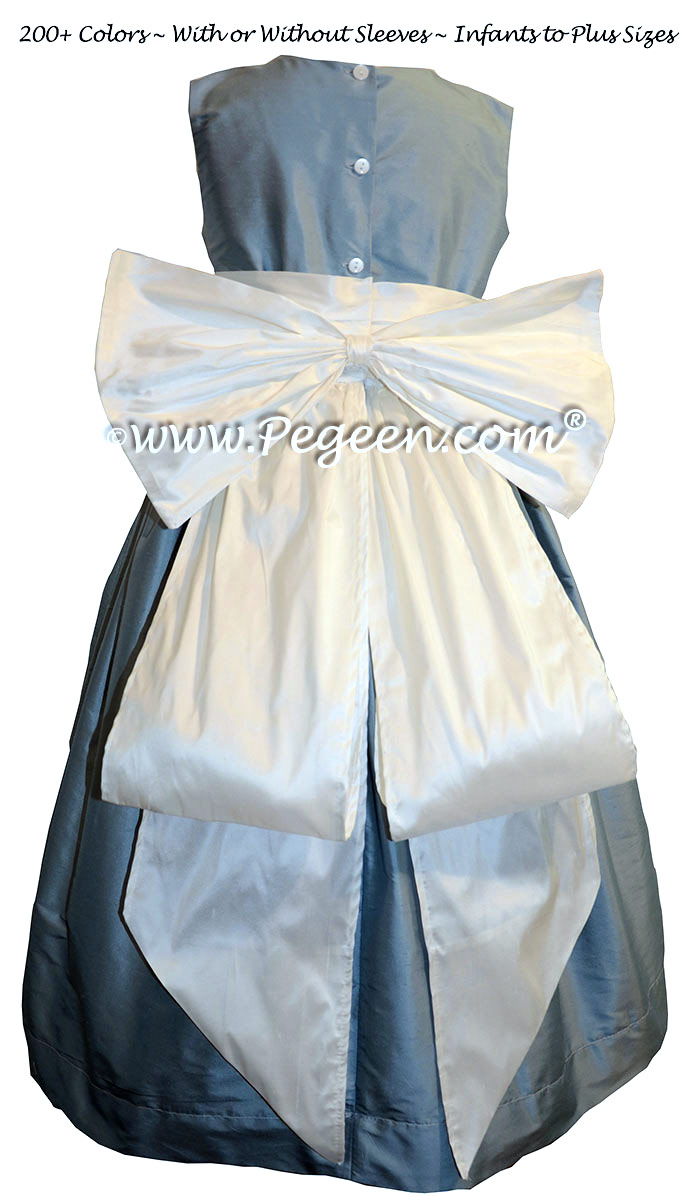 New Ivory and Caribbean Blue flower girl dresses