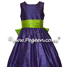 Grass Green and Purple Grape Flower Girl Dresses in Silk Style 398