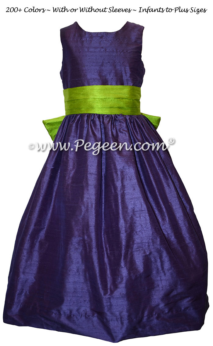 Grass Green and Grape (Purple) Flower Girl Dresses in Silk Style 398