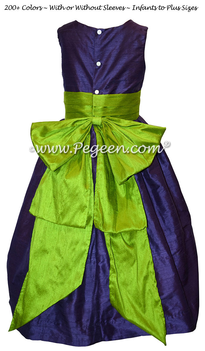 Grass Green and Grape (Purple) Flower Girl Dresses in Silk Style 345