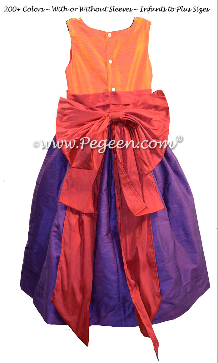 Purple, lipstick pink and mango orange flower girl dress