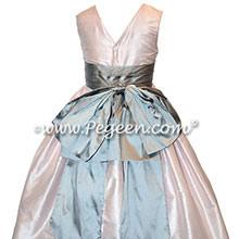 Peony Pink and Medium Gray Flower Girl Dresses Style 345 | Pegeen