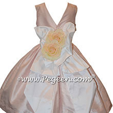 Solid Peony Pink Silk Tea Length Flower Girl Dresses with V-Back