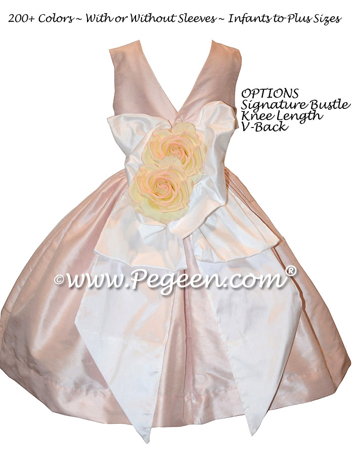 Solid Peony Pink Silk Tea Length Flower Girl Dresses with V-Back | Pegeen