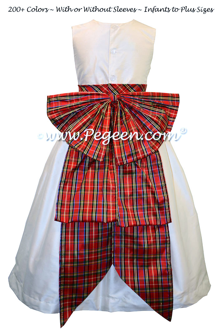 Red Plaid and New Ivory Silk Flower Girl Dresses