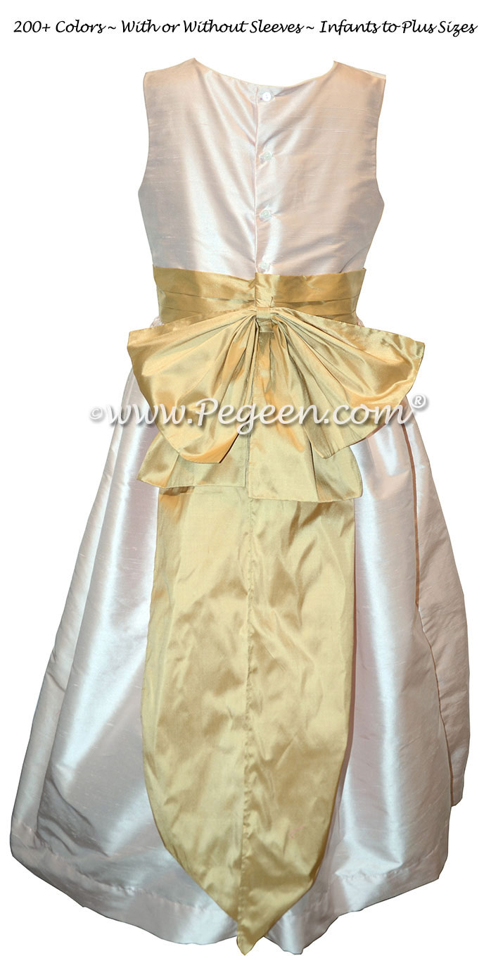 Flower Girl Dress Style 345 in Blush and Spun Gold