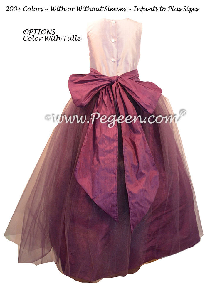 Flower Girl Dresses in Eggplant and Lavender Silk and Tulle ballerina style