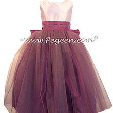 Eggplant and Lavender Silk and Tulle ballerina style Flower Girl Dresses