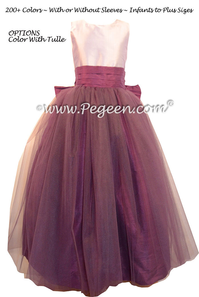 Eggplant and Lavender Flower Girl Dresses