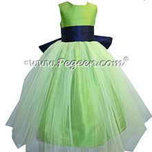 Flower Girl Dresses in Navy Blue and Apple Green Style 356 by Pegeen