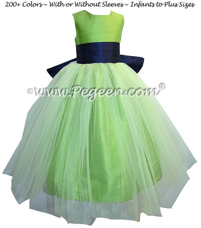 Flower Girl Dresses in Navy Blue and Apple Green Style 356