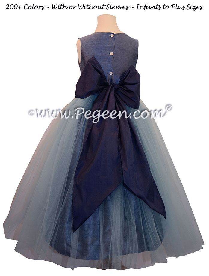 Flower Girl Dresses in Arial Blue and Navy Silk and Tulle