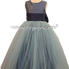 Flower Girl Dresses in Arial Blue and Navy Blue Style 356 by Pegeen