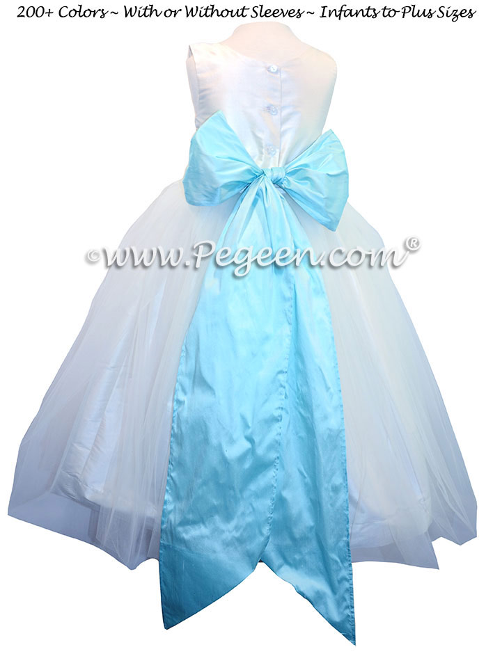 Bahama Breeze (aqua) and White silk flower girl dresses with silk bow
